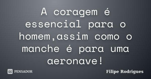 A coragem é essencial para o homem,assim como o manche é para uma aeronave!... Frase de Filipe Rodrigues.