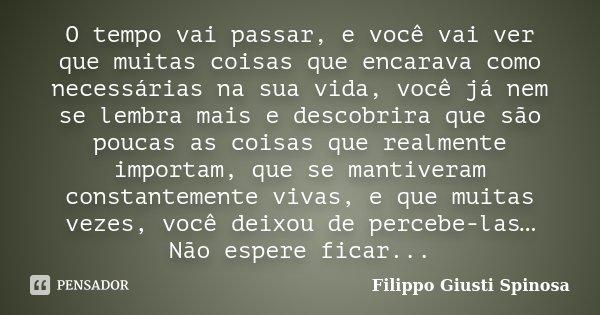 O tempo vai passar, e você vai ver que muitas coisas que encarava como necessárias na sua vida, você já nem se lembra mais e descobrira que são poucas as coisas... Frase de Filippo Giusti Spinosa.