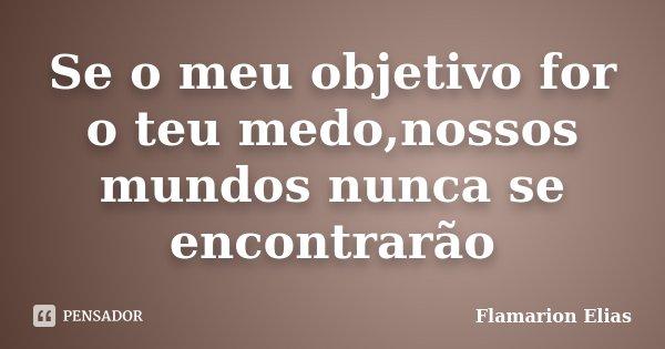 Se o meu objetivo for o teu medo,nossos mundos nunca se encontrarão... Frase de Flamarion Elias.