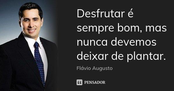 Desfrutar é sempre bom, mas nunca devemos deixar de plantar.... Frase de Flavio Augusto.