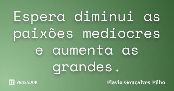 Espera diminui as paixões medíocres e aumenta as grandes.... Frase de Flavio Gonçalves Filho.