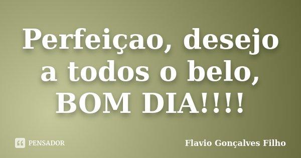 Perfeiçao, desejo a todos o belo, BOM DIA!!!!... Frase de Flavio Gonçalves Filho.