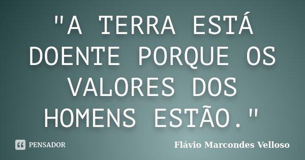 """""""A TERRA ESTÁ DOENTE PORQUE OS VALORES DOS HOMENS ESTÃO.""""... Frase de Flávio Marcondes Velloso."""