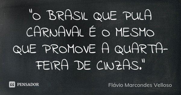 """""""O BRASIL QUE PULA CARNAVAL É O MESMO QUE PROMOVE A QUARTA-FEIRA DE CINZAS.""""... Frase de Flávio Marcondes Velloso."""