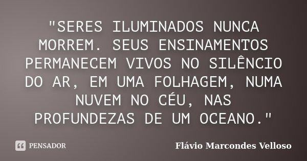 """""""SERES ILUMINADOS NUNCA MORREM. SEUS ENSINAMENTOS PERMANECEM VIVOS NO SILÊNCIO DO AR, EM UMA FOLHAGEM, NUMA NUVEM NO CÉU, NAS PROFUNDEZAS DE UM OCEANO.&quo... Frase de Flávio Marcondes Velloso."""