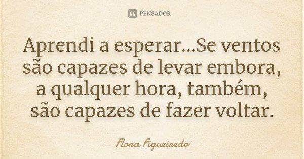 Aprendi a esperar...Se ventos são capazes de levar embora, a qualquer hora, também, são capazes de fazer voltar.... Frase de Flora Figueiredo.