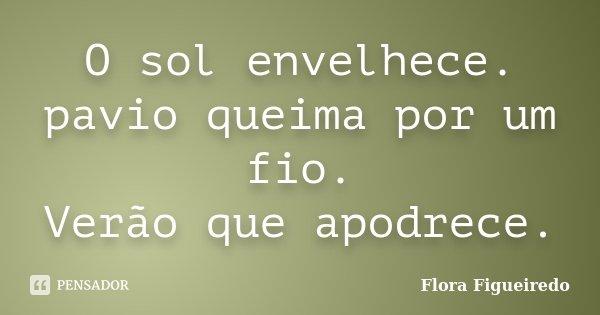 O sol envelhece. pavio queima por um fio. Verão que apodrece.... Frase de Flora Figueiredo.