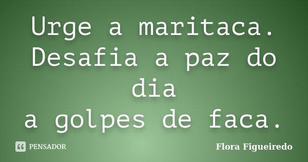 Urge a maritaca. Desafia a paz do dia a golpes de faca.... Frase de Flora Figueiredo.