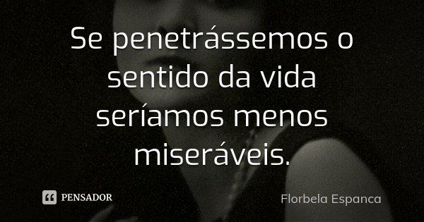 Se penetrássemos o sentido da vida seríamos menos miseráveis.... Frase de Florbela Espanca.