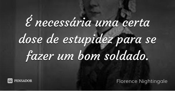 É necessária uma certa dose de estupidez para se fazer um bom soldado.... Frase de Florence Nightingale.