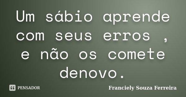 Um sábio aprende com seus erros , e não os comete denovo.... Frase de Franciely Souza Ferreira.