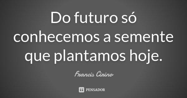 Do futuro só conhecemos a semente que plantamos hoje.... Frase de Francis Cirino.