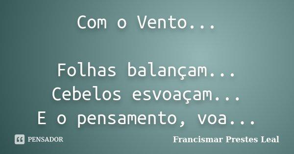 Com o Vento... Folhas balançam... Cebelos esvoaçam... E o pensamento, voa...... Frase de Francismar Prestes Leal.