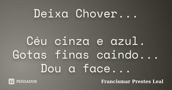 Deixa Chover... Céu cinza e azul. Gotas finas caindo... Dou a face...... Frase de Francismar Prestes Leal.