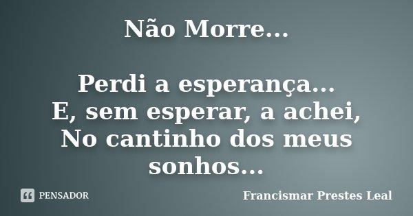 Não Morre... Perdi a esperança... E, sem esperar, a achei, No cantinho dos meus sonhos...... Frase de Francismar Prestes Leal.