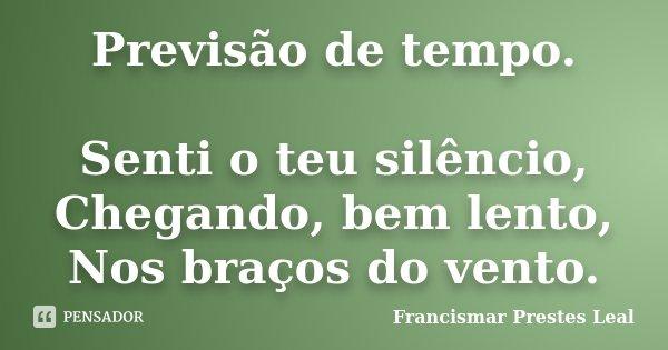 Previsão de tempo. Senti o teu silêncio, Chegando, bem lento, Nos braços do vento.... Frase de Francismar Prestes Leal.
