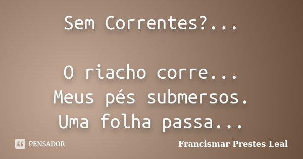 Sem Correntes?... O riacho corre... Meus pés submersos. Uma folha passa...... Frase de Francismar Prestes Leal.