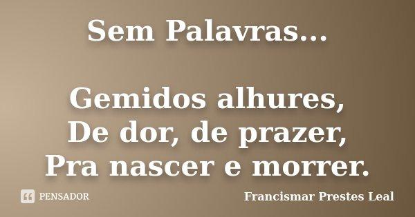 Sem Palavras... Gemidos alhures, De dor, de prazer, Pra nascer e morrer.... Frase de Francismar Prestes Leal.