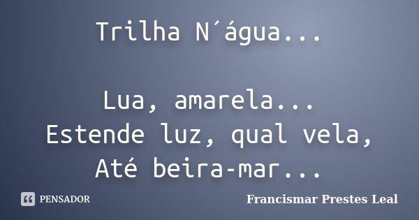 Trilha N´água... Lua, amarela... Estende luz, qual vela, Até beira-mar...... Frase de Francismar Prestes Leal.