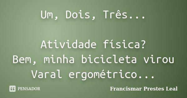 Um, Dois, Três... Atividade física? Bem, minha bicicleta virou Varal ergométrico...... Frase de Francismar Prestes Leal.