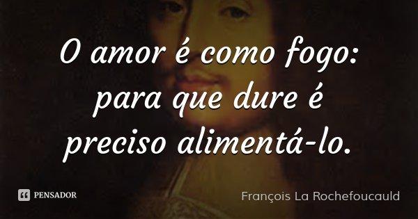 O amor é como fogo: para que dure é preciso alimentá-lo.... Frase de François La Rochefoucauld.