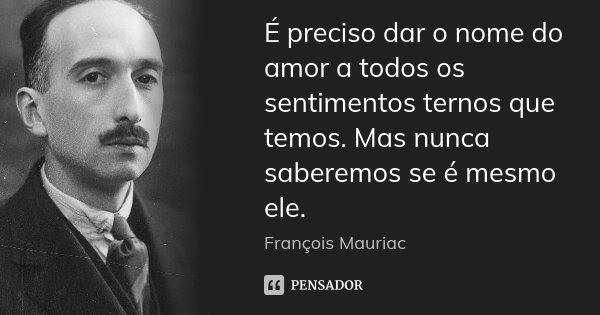 É preciso dar o nome do amor a todos os sentimentos ternos que temos. Mas nunca saberemos se é mesmo ele.... Frase de François Mauriac.