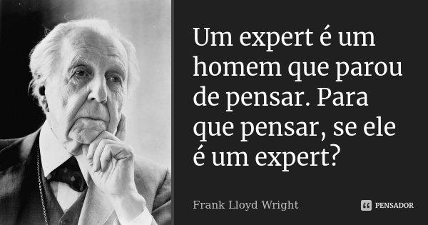 Um expert é um homem que parou de pensar. Para que pensar, se ele é um expert?... Frase de Frank Lloyd Wright.