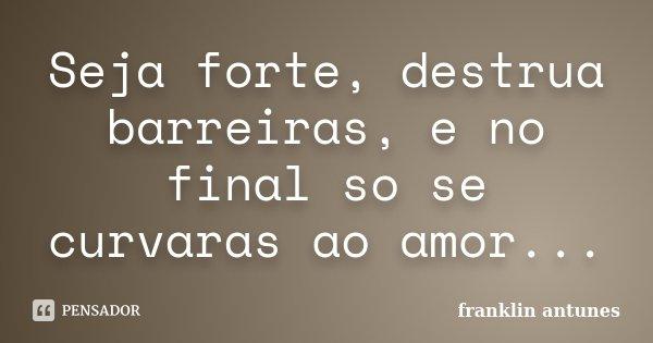 Seja forte, destrua barreiras, e no final so se curvaras ao amor...... Frase de franklin antunes.