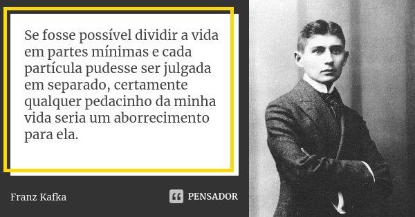 Se fosse possível dividir a vida em partes mínimas e cada partícula pudesse ser julgada em separado, certamente qualquer pedacinho da minha vida seria um aborre... Frase de Franz Kafka.