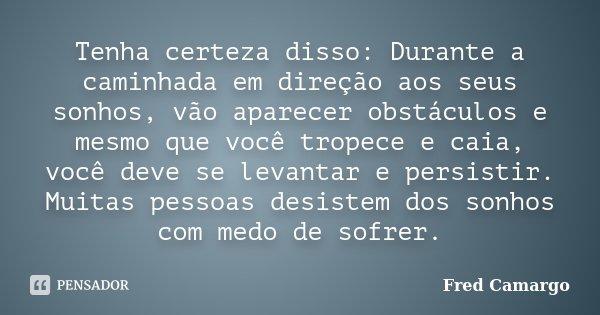 Tenha certeza disso: Durante a caminhada em direção aos seus sonhos, vão aparecer obstáculos e mesmo que você tropece e caia, você deve se levantar e persistir.... Frase de Fred Camargo.