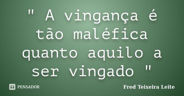 """"""" A vingança é tão maléfica quanto aquilo a ser vingado """"... Frase de Fred Teixeira Leite."""