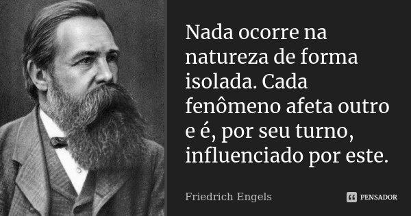 Nada ocorre na natureza de forma isolada. Cada fenômeno afeta outro e é, por seu turno, influenciado por este.... Frase de Friedrich Engels.