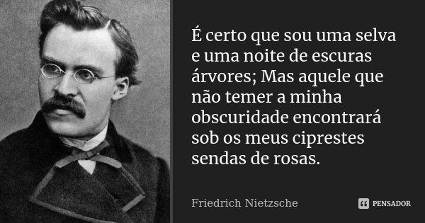 É certo que sou uma selva e uma noite de escuras árvores; Mas aquele que não temer a minha obscuridade encontrará sob os meus ciprestes sendas de rosas.... Frase de Friedrich Nietzsche.