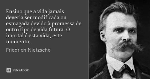 Ensino que a vida jamais deveria ser modificada ou esmagada devido à promessa de outro tipo de vida futura. O imortal é esta vida, este momento.... Frase de Friedrich Nietzsche.