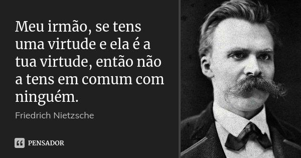 Meu irmão, se tens uma virtude e ela é a tua virtude, então não a tens em comum com ninguém.... Frase de Friedrich Nietzsche.