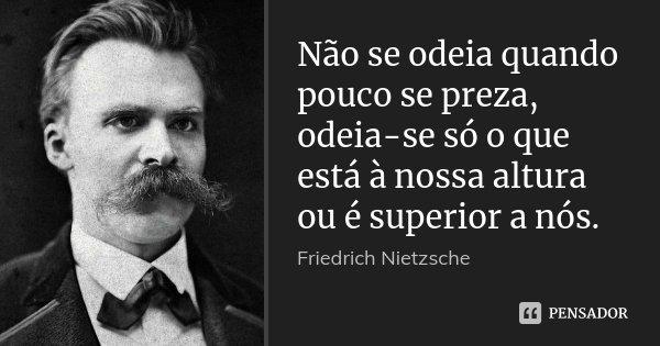 Não se odeia quando pouco se preza, odeia-se só o que está à nossa altura ou é superior a nós.... Frase de Friedrich Nietzsche.