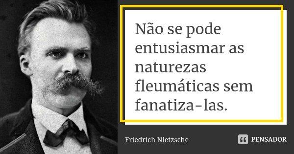 Não se pode entusiasmar as naturezas fleumáticas sem fanatiza-las.... Frase de Friedrich Nietzsche.