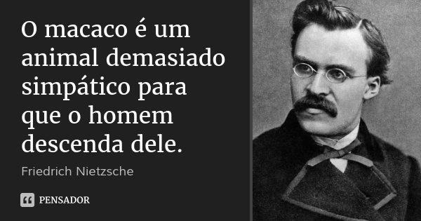 O macaco é um animal demasiado simpático para que o homem descenda dele.... Frase de Friedrich Nietzsche.