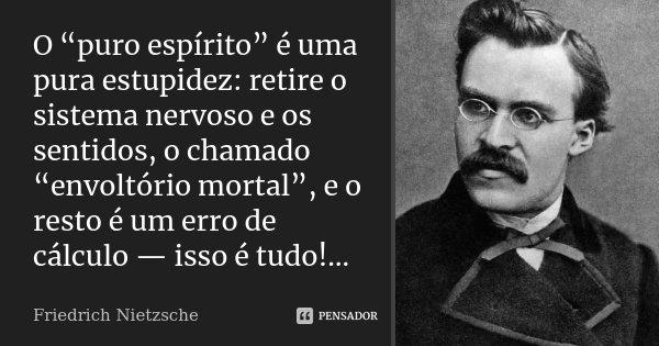 """O """"puro espírito"""" é uma pura estupidez: retire o sistema nervoso e os sentidos, o chamado """"envoltório mortal"""", e o resto é um erro de cálculo — isso é tudo!…... Frase de Friedrich Nietzsche."""
