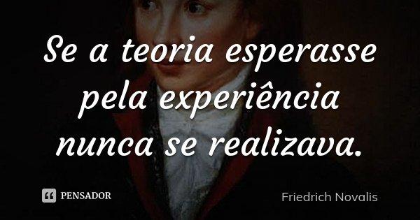 Se a teoria esperasse pela experiência nunca se realizava.... Frase de Friedrich Novalis.