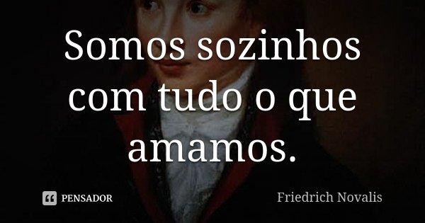Somos sozinhos com tudo o que amamos.... Frase de Friedrich Novalis.