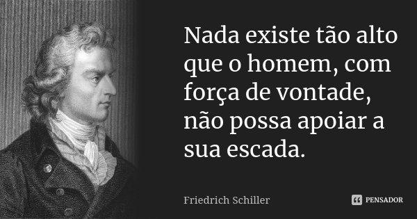 Nada existe tão alto que o homem, com força de vontade, não possa apoiar a sua escada.... Frase de Friedrich Schiller.
