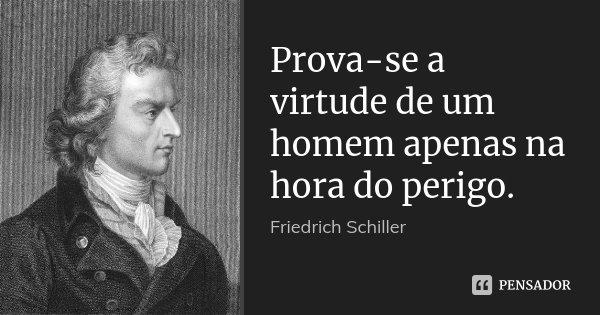 Prova-se a virtude de um homem apenas na hora do perigo.... Frase de Friedrich Schiller.