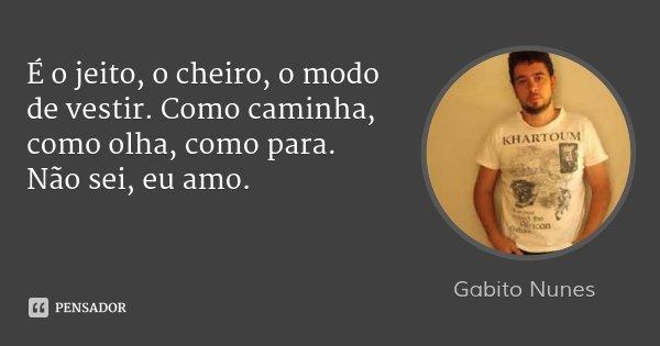 É o jeito, o cheiro, o modo de vestir. Como caminha, como olha, como para. Não sei, eu amo.... Frase de Gabito Nunes.