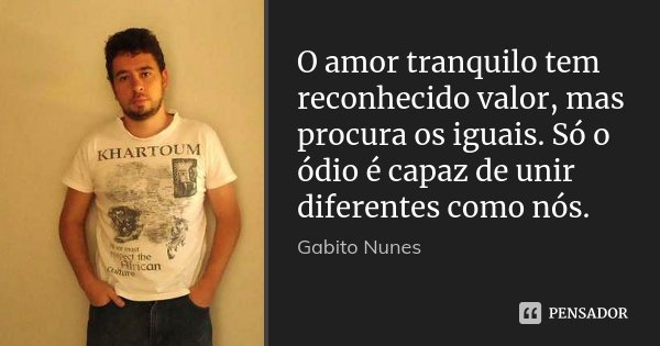 O amor tranquilo tem reconhecido valor, mas procura os iguais. Só o ódio é capaz de unir diferentes como nós.... Frase de Gabito Nunes.