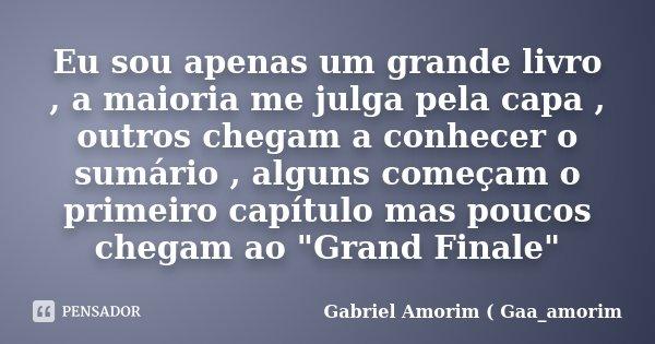 Eu sou apenas um grande livro , a maioria me julga pela capa , outros chegam a conhecer o sumário , alguns começam o primeiro capítulo mas poucos chegam ao &quo... Frase de Gabriel Amorim ( Gaa_amorim.