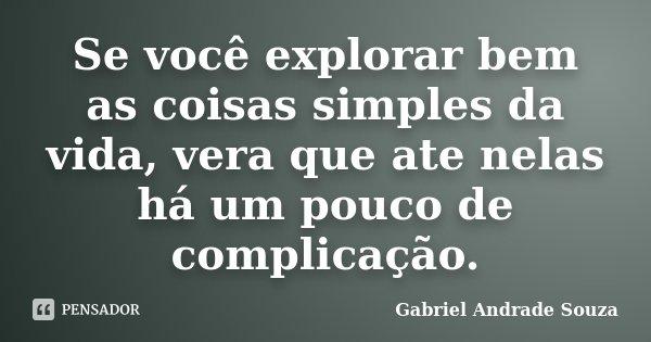 Se você explorar bem as coisas simples da vida, vera que ate nelas há um pouco de complicação.... Frase de Gabriel Andrade Souza.