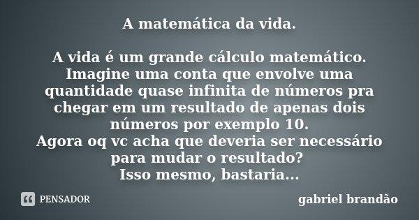 A matemática da vida. A vida é um grande cálculo matemático. Imagine uma conta que envolve uma quantidade quase infinita de números pra chegar em um resultado d... Frase de Gabriel Brandão.
