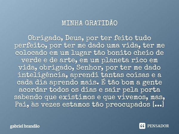 Minha Gratidão Obrigado Deus Por Ter Gabriel Brandão