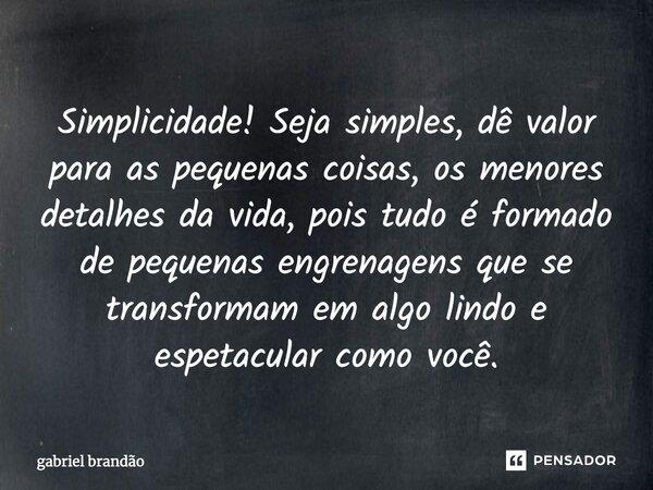 Simplicidade.... Seja simples, dê valor as pequenas coisas, os menores detalhes da vida, pois tudo é formado de pequenas engrenagens que se transformam em algo ... Frase de Gabriel Brandão.